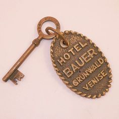 Absolutely rare antique hotel key with room number old hotel room key with original wooden pendant and number