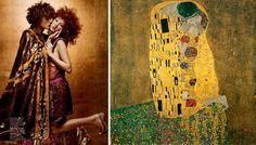 Models as Gustav Klimt's The Kiss (1907-1908) Harper's Bazaar, February 2002 Photo by Patrick Demarchelier