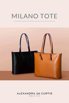 Are you looking for an Italian leather handbag? The Milano tote is handmade in Italy with lightweight, double-sided leather. Click here to check out our offers! Alexandra de Curtis #uniqueleatherhandbag #leatherhandbag #italianleatherhandbag #handmadehandbag #designerhandbag Italian Leather Handbags, Designer Leather Handbags, Kate Spade Handbags, Tote Handbags, Leather Pouch, Leather Bags, How To Make Handbags, Handbag Accessories, Purses And Bags