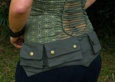 Cotton Canvas Pixie Pockets - Green - Woodland - Renaissance Fair - Elvish - Medium