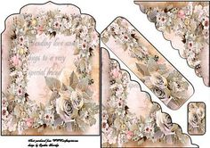 peach roses bookmark card on Craftsuprint designed by Cynthia Berridge - peach roses bookmark card - Now available for download!