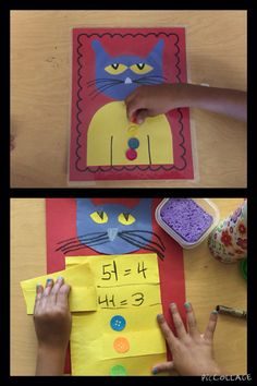 Cessy was inspired by Pete the cat! We started teaching  subtraction last week and Cessy pulled out her Pete the Cat and His Four Groovy Buttons Book. She made a math center game and a mini Pete the Cat with die cut buttons and all!!!! The students loved the book, center and craft!