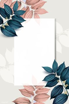Rectangle white frame on pink and blue leaf pattern background vector premium image by wan Framed Wallpaper, Flower Background Wallpaper, Flower Phone Wallpaper, Cute Wallpaper Backgrounds, Flower Backgrounds, Background Patterns, Backgrounds Free, Vector Background, Iphone Wallpapers