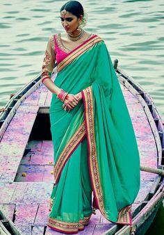 Scintillating Sea Green #Saree