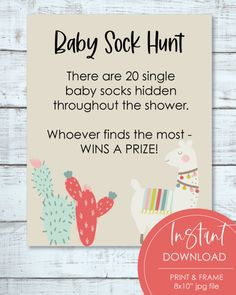 "Printable Sock Hunt Baby Shower Game Sign 8x10"" - Boho Llama, Cactus Theme Baby Shower Candy, Baby Shower Bingo, Baby Shower Party Supplies, Boho Baby Shower, Baby Shower Activities, Baby Shower Parties, Girl Shower, Free Baby Shower Printables, Printable Party"