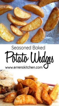 Seasoned Baked Potato Wedges - Baked in the oven, this easy, healthy recipe makes crispy, oven fried wedges that are simply spiced and cooked to perfection. You'll also learn to cut the wedges with ease. #ErrensKitchen #potatorecipes #potatoes #potatowedges #easyrecipe #easycookingrecipes #easycooking #budgetmeals