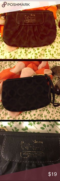 Coach Wristlet/ Change Purse Lovely thing and super functional! Could be a small makeup bag or could fit a smaller phone and money in lieu of a purse for a show, or a change purse of course! Some scratching of the label/logo on pic 3. 6W x 4L. Coach Bags Clutches & Wristlets