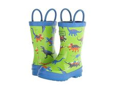 Boys + girls rainboots for your little dinosaur lover. Soft jersey lining made of 100% cotton. #Hatley | parakeetfeet.com