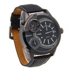 [$15.99] Quartz Leather Wrist Watch Stainless Steel Dials 3 Movements Men white