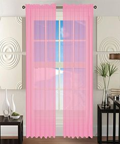 Awad Home Fashion 2 Panels Solid Light Pink Sheer Voile Window Curtain  Treatment Drapes 55 X