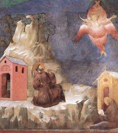 Fresco de Giotto di Bondone, Basílica de Asís. San Francisco coloca al Niño Jesús (un bebé real), en el primer pesebre navideño.   La esce...