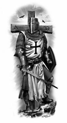 Knight Templar 1776 stock is the best selections of Templar related products for sale in the US. Templar Knight Tattoo, Arte Assassins Creed, Archangel Tattoo, Warrior Tattoos, Angel Warrior Tattoo, Crusader Knight, Christian Warrior, Jesus Tattoo, Armadura Medieval