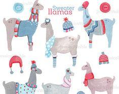 SALE Sweater Llamas Watercolor Clipart Digital Winter Clip Art Watercolour Hand Painted Seasonal Christmas From JW