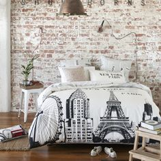 I like the bed spread, but also if I could do that brick design on one wall in a room with paint.  Home Depot??