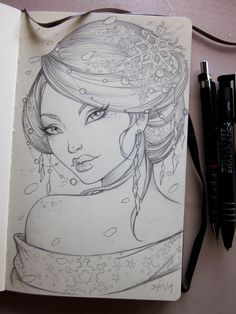 Geisha Moleskine sketch by Sabinerich on deviantART Drawing Sketches, Pencil Drawings, Art Drawings, Tattoo Painting, Painting & Drawing, Portrait Illustration, Drawing People, Moleskine, Art Tutorials