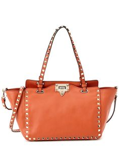 Valentino Rockstud Mini Leather Tote Orange