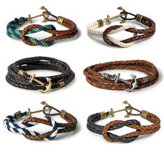 Nautical bracelets. I especially like the second one in the second row.