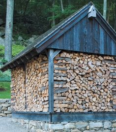 "Only at the end of the winter are the ""walls"" of the woodshed burned as firewood. photograph by rob cardillo"
