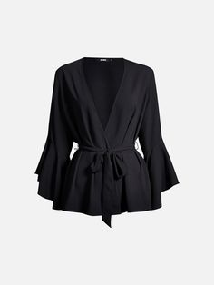 Wrap blouse in polyester with wide threequarter sleeves. Tie belt in the waistline. Wrap Blouse, Belt Tying, Sleeves, Cuffs, Shopping, Christmas, Fashion, Dress, Yule
