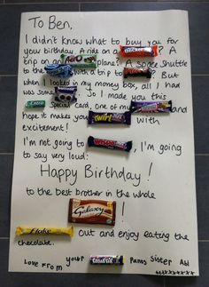 Best Christmas Gifts for Dad What To Get Dad For . christmas gift ideas for dad christmas gift ideas for Best Christmas Gifts for Dad What To Get Dad For . Chocolate Bar Card, Chocolate Bar Names, Birthday Gifts For Brother, 30 Presents For 30th Birthday, 30th Birthday Poem, Birthday Ideas For Dad, Birthday Present For Brother, Brother Gifts, Card Birthday