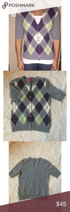 Cashmere Caché Argyle Cardigan 100% S cashmere cardigan. Green with seafoam green, white & plum accents. Worn twice. Buttons have a purple-grey pearl finish. Sweaters Cardigans