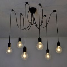 Fuloon Vintage Edison Industrial Style Retro Ceiling Lights DIY Chandelier Lamps in Home, Furniture & DIY, Lighting, Ceiling Lights & Chandeliers   eBay