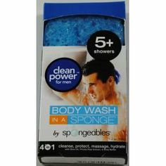 Spongeables® Body Wash in a Sponge Clean Power for Men (Case of 24) by Spongeables®. $59.00. 1.2 oz cello wrapped and boxed. 5+showers. 4 in 1. Cleanse, protect, massage, hydrate. With olive oil, prickly pear extract, & Shea butter.