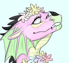 Tamarin the RainWing from Wings of Fire. I feel like she doesn't get enough fanart, and I really like her. I probably got something wrong cuz I haven't read the books in so long but I remember that she's blind and that she likes flowers so ya. By @bethanytorio