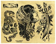 eBook containing 56 pages of hand painted tattoo flash by Paul Anthony Dobleman. Paul was born in San Francisco, CA in 1980 and currently tattoos at Spider Murphy's Tattoo in San Rafael, CA. ©2016 Illustrated MonthlyAll Rights Reserved .embed-container { position: relative; padding-bottom: 56.25%; height: 0; overflow: hidden; max-width: 100%; height: auto; } .embed-container iframe, .embed-container object, .embed-container embed { position: absolute; top: 0; left: 0; width: 100%; height: 100%; Traditional Tattoo Painting, Traditional Black Tattoo, Traditional Tattoo Flash, Rose Tattoos, Black Tattoos, Body Art Tattoos, Sleeve Tattoos, Tatoos, Tatuagem Old Scholl