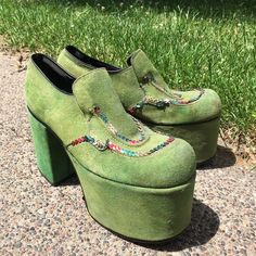 Vintage 70's Flagg Bros Green Suede Platform Disco Shoes M 7 W 8.5 #FlaggBros