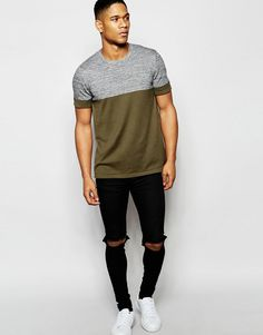 Image 4 ofASOS Knitted Tshirt in Colour Block