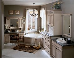 Chandelier over tub.  Could use the appliance cubby for a coffee bar.