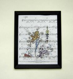 Mermaid music sheet print picture marine festive handmade
