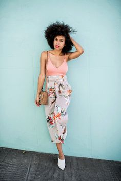 style me grasie: tropical trousers // bodysuit one piece ootd blogger florals tropical zara pinstripe trousers bow pink spring summer ring bucket bag cross body purse white suede mules urban outfitters who what wear mix and match slim floral pants diane von furstenberg outfit