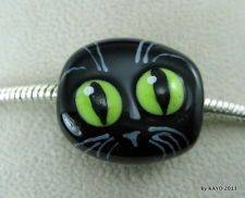 MR. MISCHIEF byKAYO handmade CAT lampwork glass European charm BRACELET bead SRA