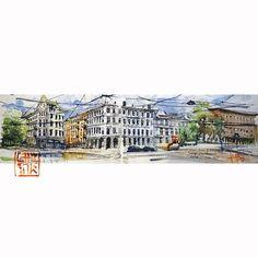 Sketch of Solli-Plas Oslo. 75minutes. Watercolor on paper 1560cm. #solliplass #norway #europe #sketch #watercolor #biketouring #biketrip