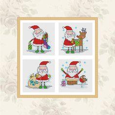 fun santa - 4 cross stitch patterns by Durene Jones
