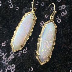 Kendra Scott Fran Earrings White iridescent drusy stones set in gold tone hardware. Fun for the summer sun! Kendra Scott Jewelry Earrings