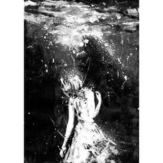 Mermaid, Black And White Art, Art Print, Drown, Girl In Water,... ($20) ❤ liked on Polyvore featuring home, home decor, wall art, contemporary wall art, black white poster, contemporary painting, mermaid painting and water painting