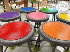 Paint your classroom stools and tables for ease of assigning art room jobs to groups of students. Can also mix and match to organize discussion groups, partner pairings, and other classroom activities. Classroom Stools, Art Classroom Decor, Art Classroom Management, Classroom Design, Classroom Ideas, Classroom Organization, Classroom Rules, Future Classroom, Classroom Activities