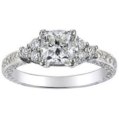 Platinum Adorned Trio Diamond Ring, top view