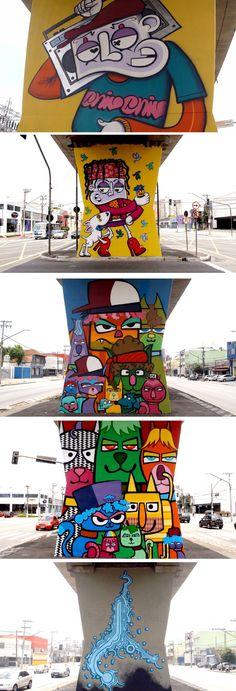 First Street Art open museum in São Paulo, Brazil 1º Museu Aberto de Arte Urbana, inédito no Brasil e no mundo. As 33 colunas de 4 metros de altura do metrô abriram espaço para as artes de Binho, Chivitz, Akeni, Minhau, Larkone, Onesto, Zezão, Higraff, Presto e Anjo, quase todos moradores da zona norte. Foram usados ao todo três mil latas de spray especial e 40 latas de 18 litros de látex | The House of Beccaria# #streetart