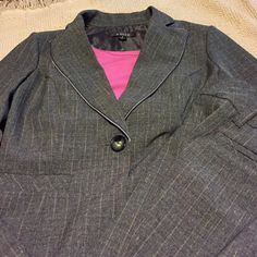 A.Byer 2 Piece Pant Suit Cute grey suit with iridescent pinstripes. Jacket has a single button closure.pants has a button and hook closure. 2 slanted pockets in front and 2 hidden pockets in back. This suit is so cute. Wish I could fit it. A.Byer Jackets & Coats Blazers