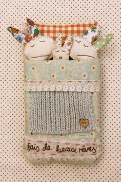 Mixed Media Photographic print 'Fais de beaux by RosieMadeAThing Sewing Toys, Sewing Crafts, Sewing Projects, Craft Projects, Fabric Toys, Fabric Art, Fabric Scraps, Fabric Animals, Toy Art