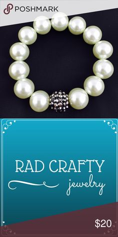 HP! Large white pearl beads with black accent White pearl beads with shiny black accent bead. 16mm. Stretchy. Rad Crafty Jewelry Bracelets
