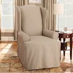 Sure Fit Slipcovers Cotton Duck Wing Chair Slipcover