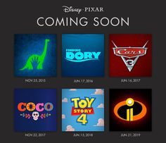 Disney•Pixar fans, rejoice! We've finally gotten release dates for the upcoming films, including a few hotly anticipated sequels—Cars 3, Toy Story 4, and Incredibles 2—and Coco, a new story about a spirited 12-year-old boy named Miguel, who somehow finds himself in the fantastical realm of dead.