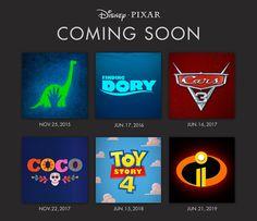Les dates de sortie des prochains Pixar