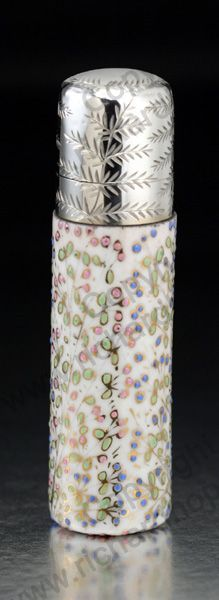 ANTIQUE & VINTAGE SCENT PERFUME BOTTLES. English enamelled porcelain cylinder, sterling silver top, mid to later 19th century. To visit my website click here: http://www.richardhoppe.co.uk or for help or information email us here: info@richardhoppe.co.uk