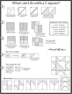 Material Girls Quilts: Things you can do with Charm Squares. An easy way to make units from charm squares. Quilting Tools, Quilting Tutorials, Quilting Projects, Quilting Designs, Quilting Ideas, Beginner Quilting, Quilting Board, Sewing Projects, Quilt Block Patterns
